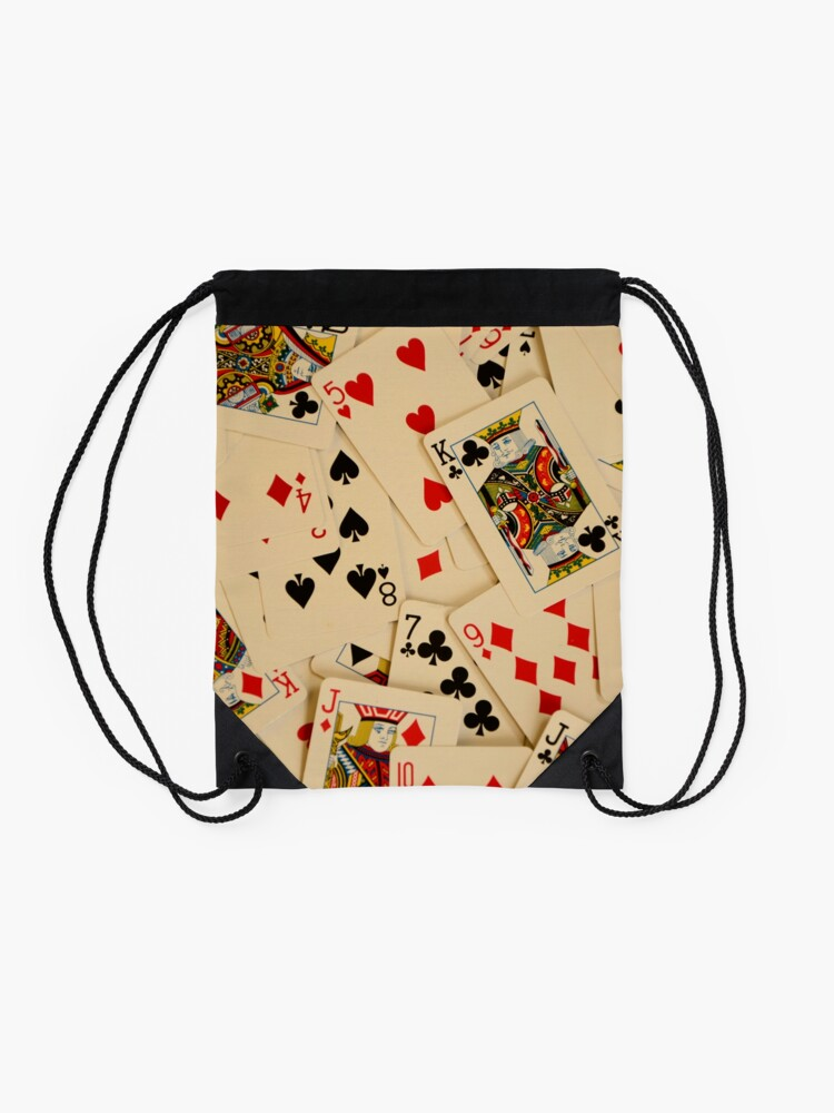 Alternate view of Scattered Pack of Playing Cards Hearts Clubs Diamonds Spades Pattern Drawstring Bag