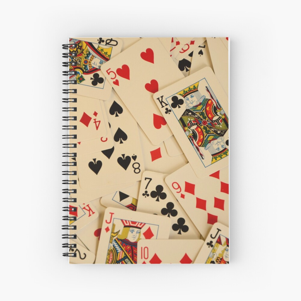Scattered Pack of Playing Cards Hearts Clubs Diamonds Spades Pattern Spiral Notebook