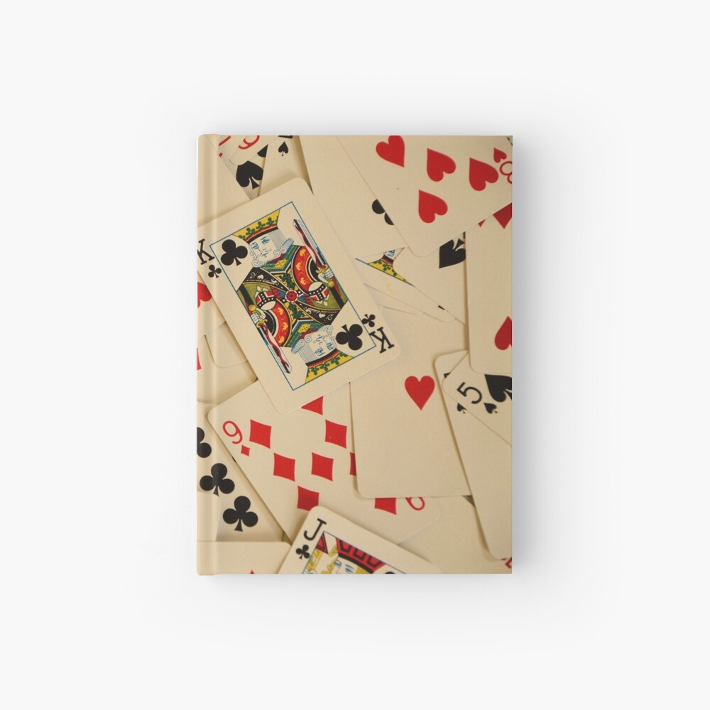 Scattered Pack of Playing Cards Hearts Clubs Diamonds Spades Pattern Hardcover Journal