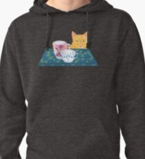 still life with cat and coffeecups Pullover Hoodie