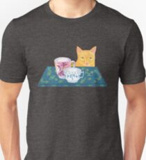 still life with cat and coffeecups Unisex T-Shirt