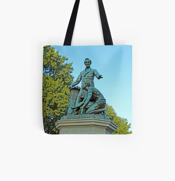 Abraham Lincoln Freeing A Slave At The Emancipation Memorial -- 2 All Over Print Tote Bag