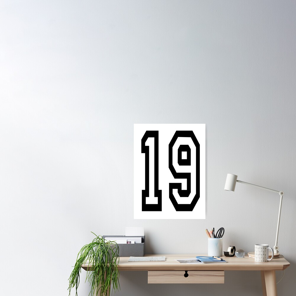 19. 19th. TEAM SPORTS, NUMBER 19, NINETEEN, NINETEENTH, Competition. Poster