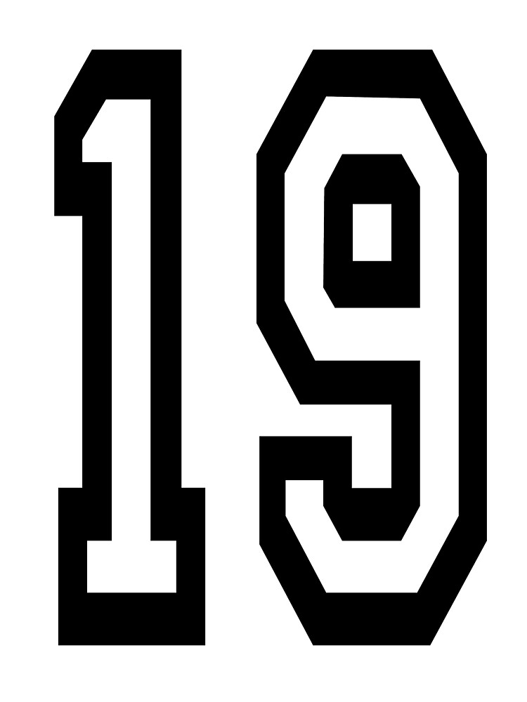 19. 19th. TEAM SPORTS, NUMBER 19, NINETEEN, NINETEENTH, Competition. by TOMSREDBUBBLE