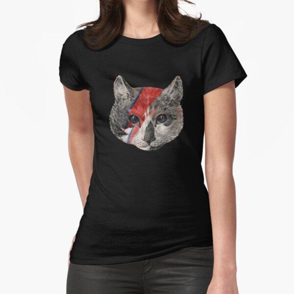 Rock the Bowie Cat T-shirt moulant