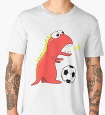 Blue Funny Cartoon Dinosaur Soccer Men's Premium T-Shirt