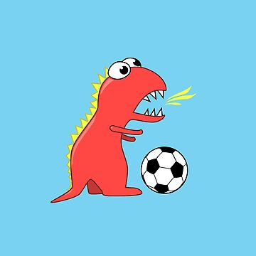 Blue Funny Cartoon Dinosaur Soccer by azzza