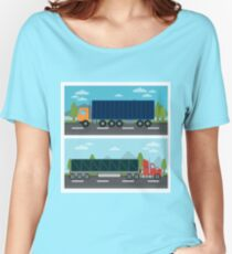 Cargo Transportation. Truck and Trailer. Delivery Trucks. Logistics Transportation. Mode of Transportation. Cargo Truck. Flat style Women's Relaxed Fit T-Shirt