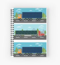 Cargo Transportation. Truck and Trailer. Delivery Trucks. Logistics Transportation. Mode of Transportation. Cargo Truck. Flat style Spiral Notebook