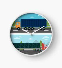 Cargo Transportation. Truck and Trailer. Delivery Trucks. Logistics Transportation. Mode of Transportation. Cargo Truck. Flat style Clock