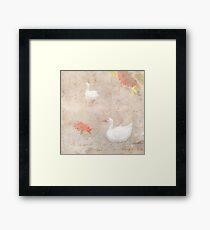 Geese, clouds, roses, vintage calligraphy  Framed Print