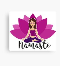 Pink lotus and Yoga girl in padmasana Canvas Print