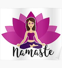 Pink lotus and Yoga girl in padmasana Poster