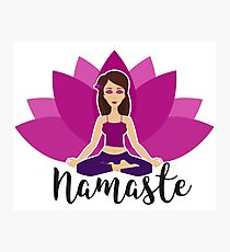Pink lotus and Yoga girl in padmasana Photographic Print