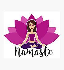 Pink lotus and Yoga girl in padmasana Photographic Print