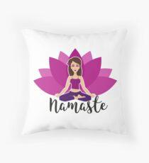 Pink lotus and Yoga girl in padmasana Throw Pillow