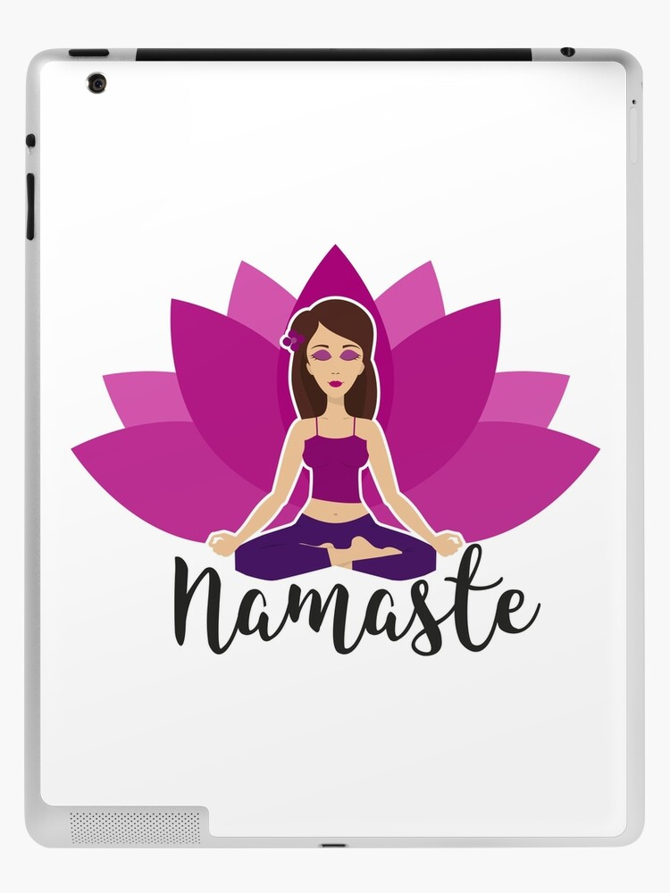 Pink Lotus And Yoga Girl In Padmasana Ipad Case Skin By Yogajogastore Redbubble