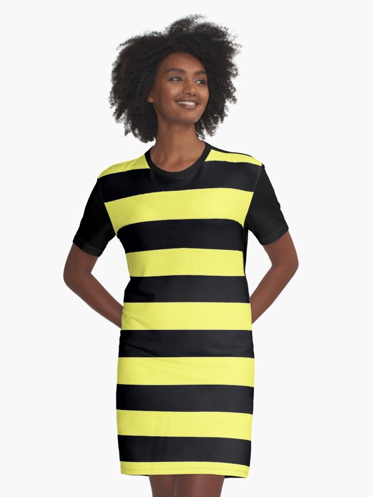 BLACK AND YELLOW BEE STRIPES ON DECOR AND SOME CLOTHING  AND DUO  COLOUR ON T-SHIRTS PRINTS AND STICKERS Graphic T-Shirt Dress Front