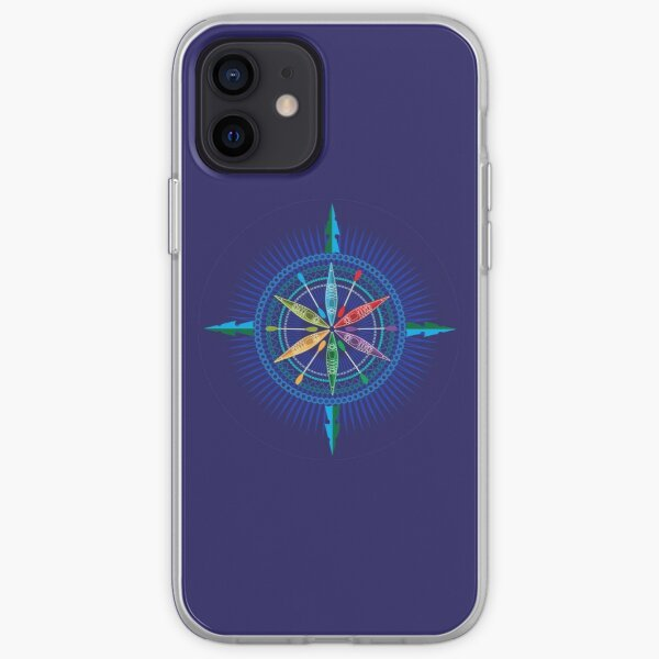 Kayak Compass Rose on blue iPhone Soft Case