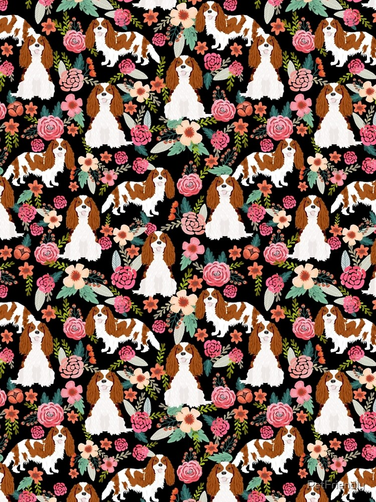 Blenheim cavalier king charles spaniel dog breed florals pattern gifts by PetFriendly