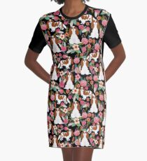 Blenheim cavalier king charles spaniel dog breed florals pattern gifts Graphic T-Shirt Dress