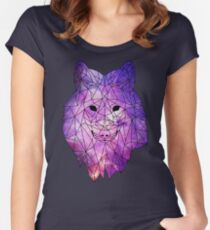 Geometric Galaxy Wolf Women's Fitted Scoop T-Shirt