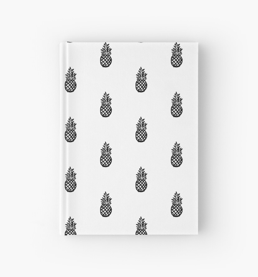 'Cartoon Pineapple Doodle' Hardcover Journal by Lecturenotes
