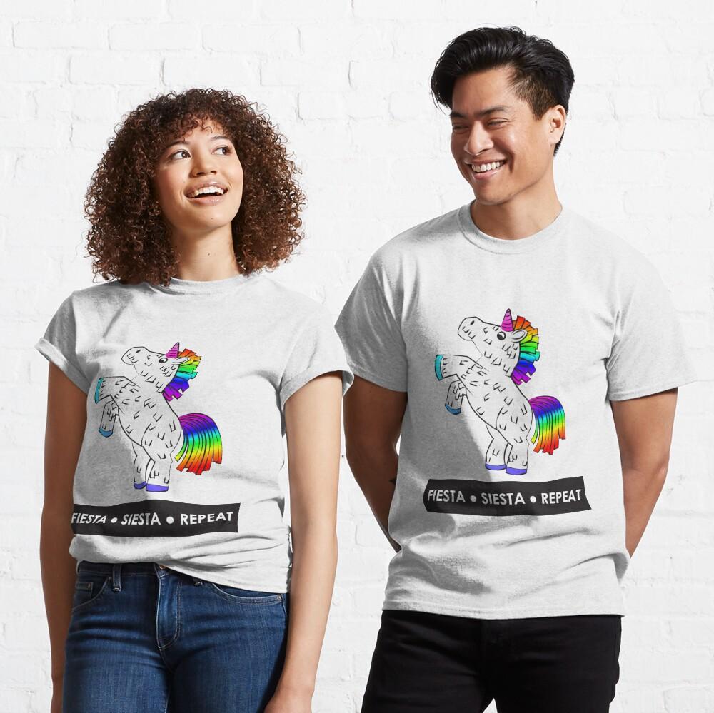 Fiesta, Siesta, Repeat with Unicorn Piñata (White and Rainbow) Classic T-Shirt