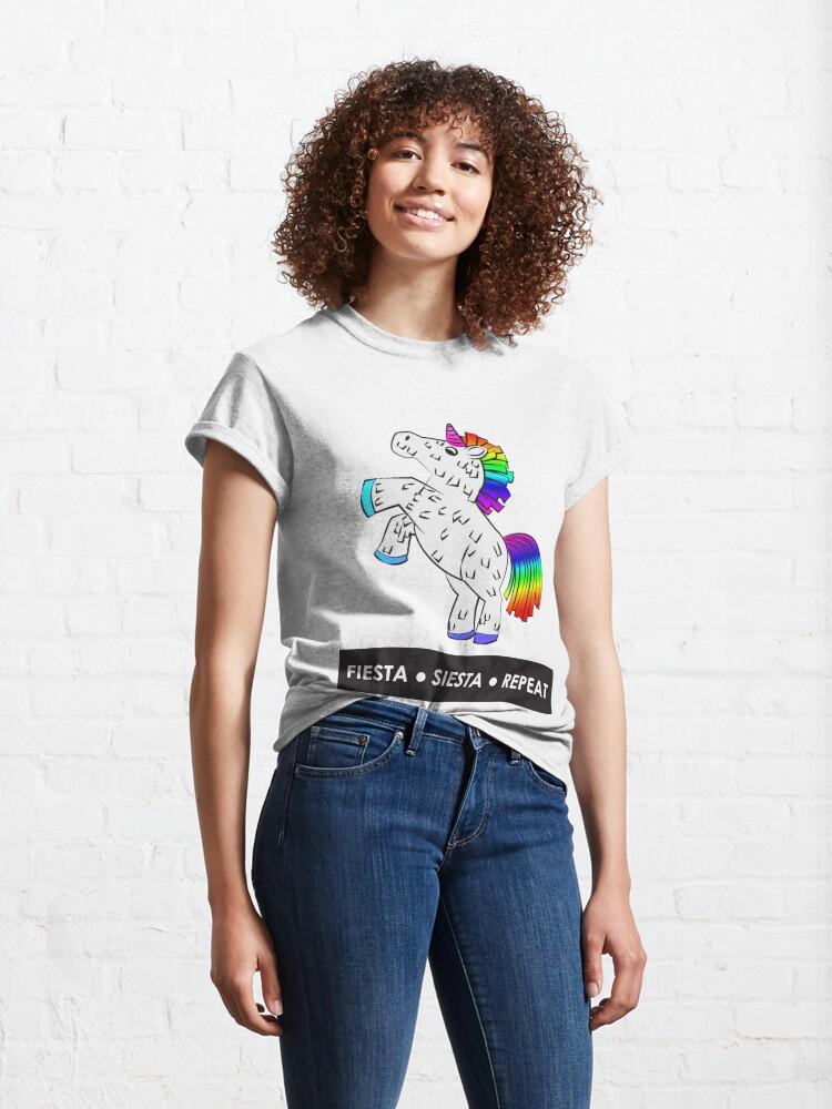 Alternate view of Fiesta, Siesta, Repeat with Unicorn Piñata (White and Rainbow) Classic T-Shirt