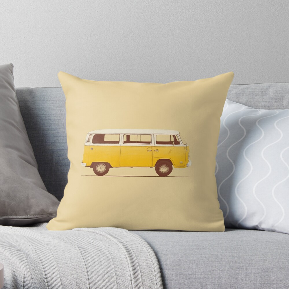 Yellow Van Throw Pillow