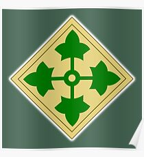 US, ARMY, Military, 4th Infantry, Division, Soldier, shoulder insignia, American, America, USA,  Poster