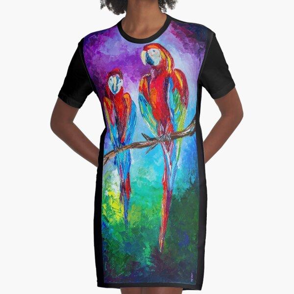 Parrots Graphic T-Shirt Dress