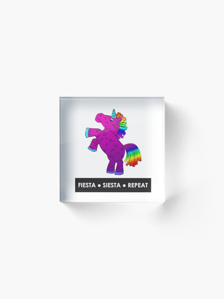 Alternate view of Fiesta, Siesta, Repeat with Unicorn Piñata (Purple and Rainbow) Acrylic Block
