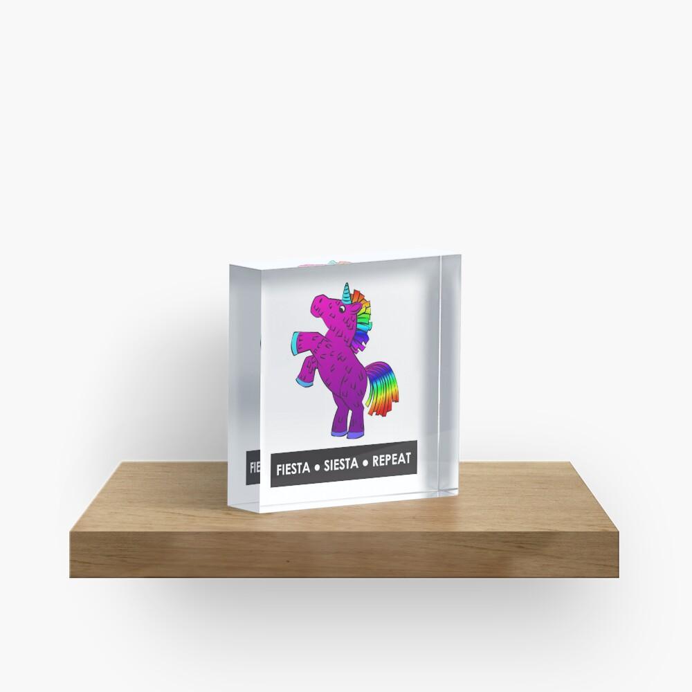 Fiesta, Siesta, Repeat with Unicorn Piñata (Purple and Rainbow) Acrylic Block