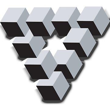 ILLUSION, Optical illusion, visual illusion, weird, odd, Cube, triangle by TOMSREDBUBBLE