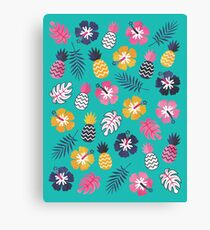 Forever Summer Tropical Pattern on Mint Green Canvas Print