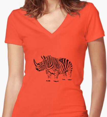 Rhinobra Women's Fitted V-Neck T-Shirt