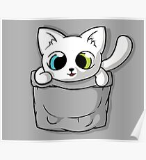 Cute White Pocket Cat Poster