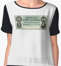 FAKE, Civil War, Confederate States, Dollar, AMERICAN, $1000, Greyback, America, US, USA Women's Chiffon Top