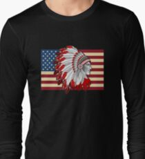 Native American And USA  Flag T-Shirt