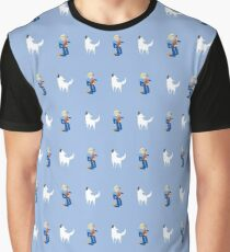 Boy on Guitar and Singing Dog Pattern, blue Graphic T-Shirt