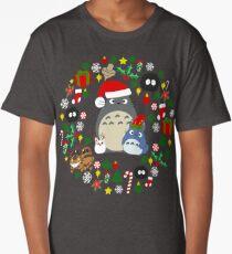 Christmas Totoro in Lighter Grey - Holiday, Xmas, Presents, Peppermint, Candy Cane, Mistletoe, Snowflake, Poinsettia, Anime, Catbus, Soot Sprite, Blue, White, Manga, Hayao Miyazaki, Studio Ghibl Long T-Shirt
