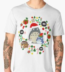 Christmas Totoro in Lighter Grey - Holiday, Xmas, Presents, Peppermint, Candy Cane, Mistletoe, Snowflake, Poinsettia, Anime, Catbus, Soot Sprite, Blue, White, Manga, Hayao Miyazaki, Studio Ghibl Men's Premium T-Shirt
