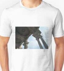Classical columns holding dome ceiling and cloudy sky  T-Shirt
