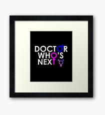 DOCTOR 13 WHO'S NEXT MALE FEMALE TIME SYMBOL TEE Framed Print