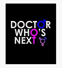DOCTOR 13 WHO'S NEXT MALE FEMALE TIME SYMBOL TEE Photographic Print