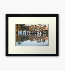 Houseboats on the river. Framed Print