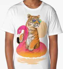 Chillin, Flamingo Tiger Long T-Shirt