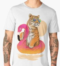 Chillin, Flamingo Tiger Men's Premium T-Shirt