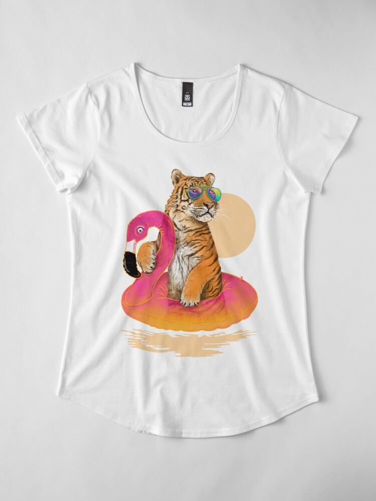 Alternate view of Chillin, Flamingo Tiger Premium Scoop T-Shirt